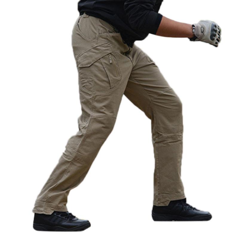 Men Outdoor Military Fan Multi-pockets Pant Breathable Cotton Casual Pants Khaki_L