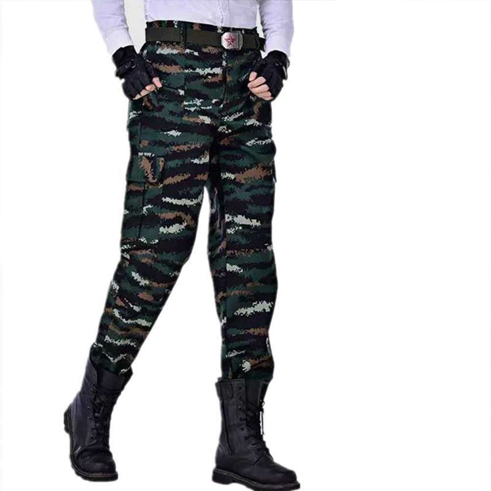 Unisex Special Training Camouflage High Strength Pants Wear Resistant Casual Trousers Tabby camouflage_165=S