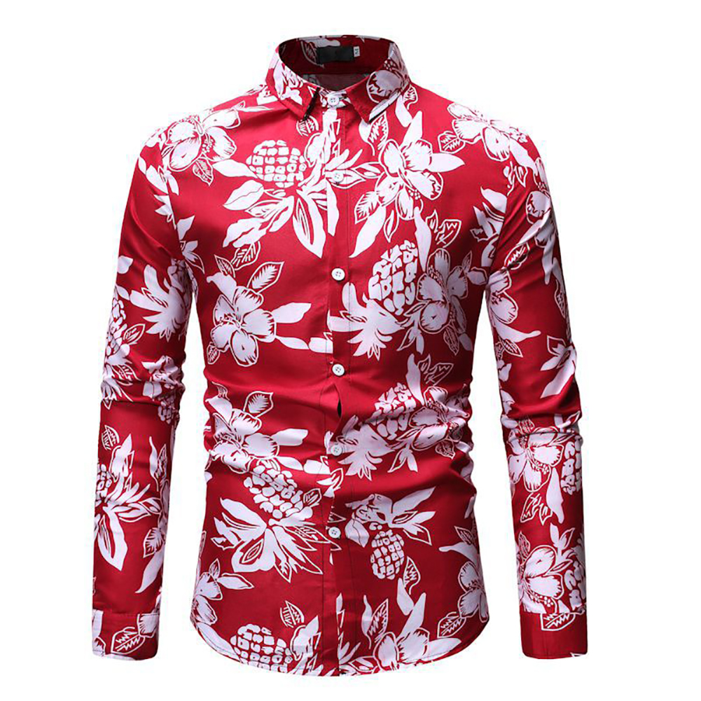 Men Fashion Casual Printing Stand Collar Long Sleeve T-shirt red_M