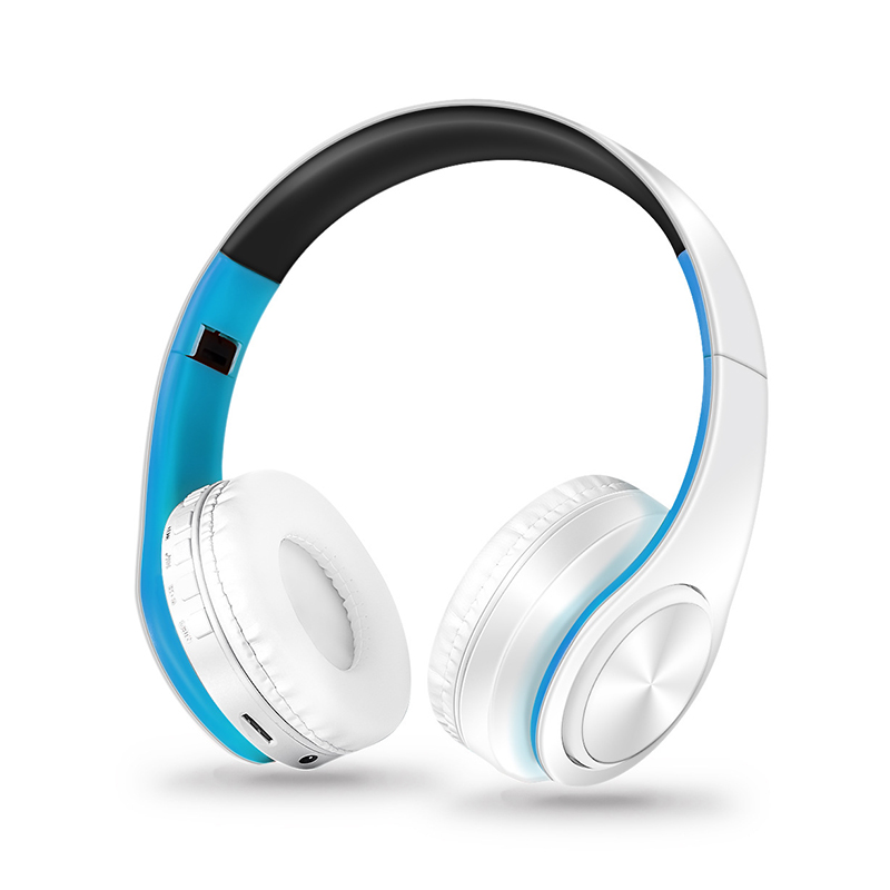 Wireless Headphones Bluetooth Headset Foldable Headphone Adjustable Earphones with Microphone for PC Mobile Phone Mp3 Blue and white