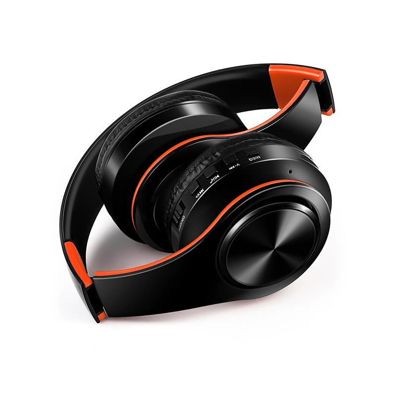 Wireless Headphones Bluetooth Headset Foldable Headphone Adjustable Earphones with Microphone for PC Mobile Phone Mp3 Orange black