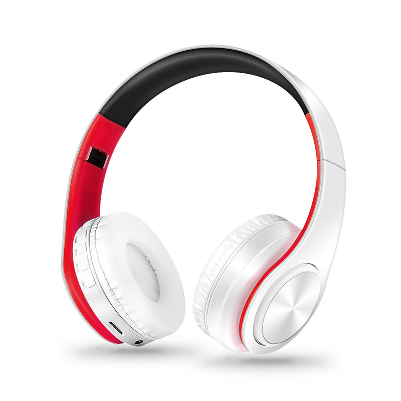 Wireless Headphones Bluetooth Headset Foldable Headphone Adjustable Earphones with Microphone for PC Mobile Phone Mp3 Red and white