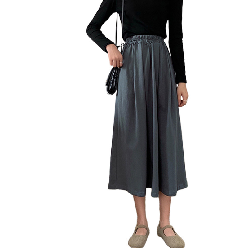 Women A-line Pleated Skirt High Waist Solid Color Spring Summer Midi Skirt gray_One size