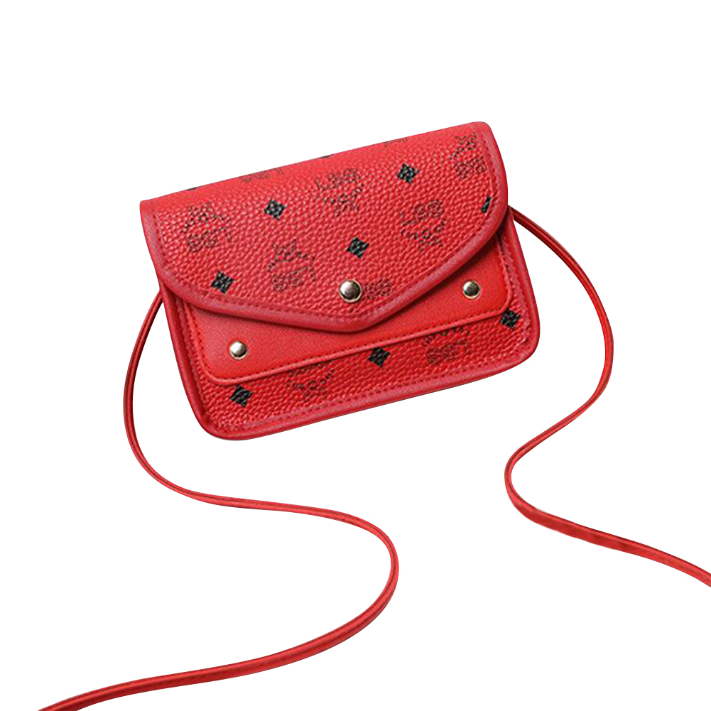 Casual Hit Color Small Square Shoulder Messenger Fashion Mobile Phone Pu Small Bag red
