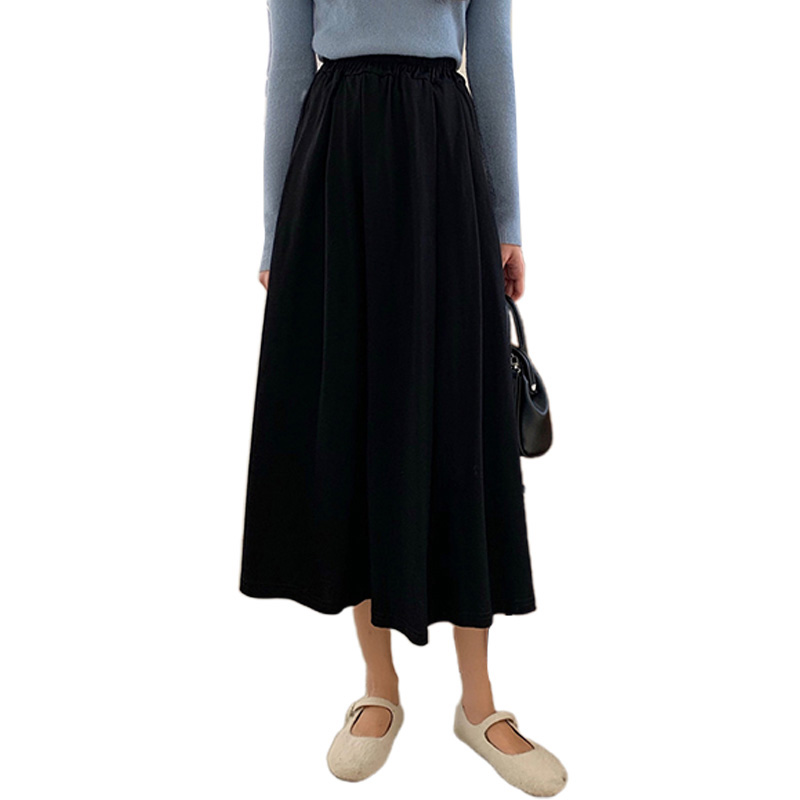 Women A-line Pleated Skirt High Waist Solid Color Spring Summer Midi Skirt black_One size