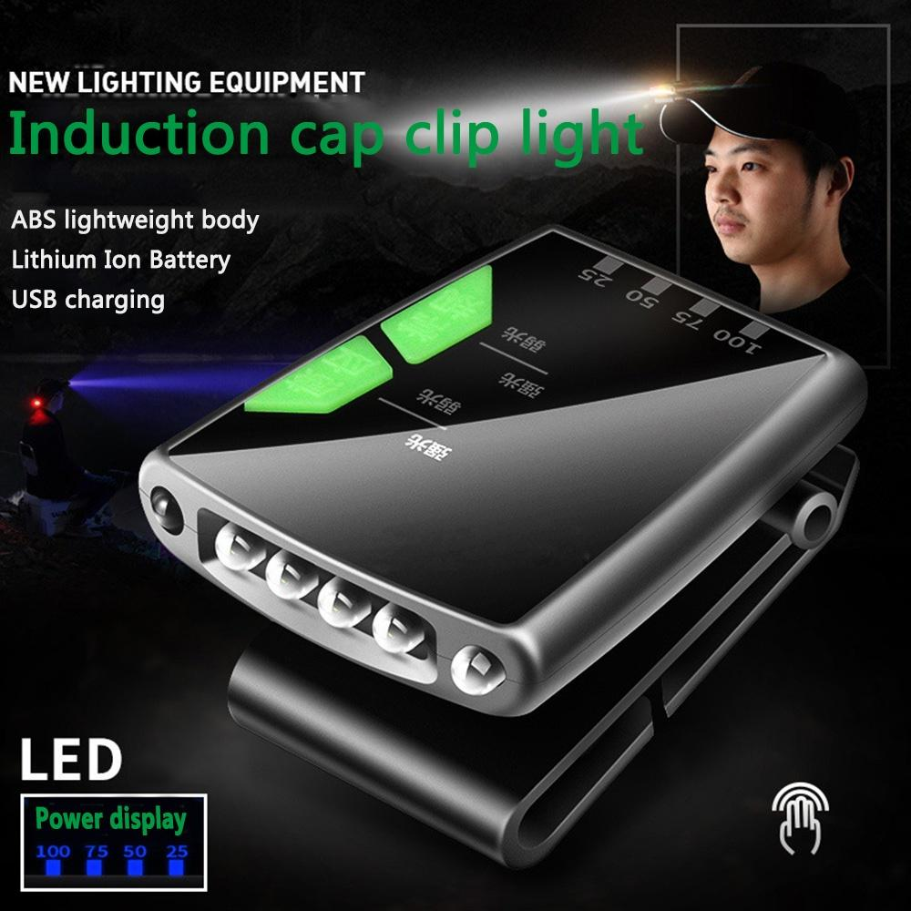 Cap-clip Gesture Sensing Light USB Rechargeable Induction LED Headlight for Fishing  Bright black