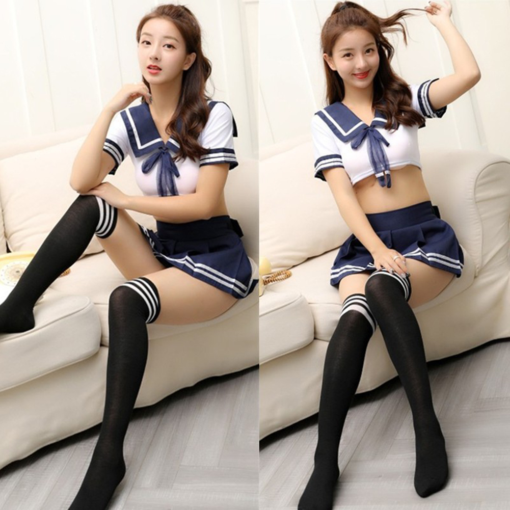 Women Lingerie Schoolgirls Outfit Lingerie Roleplay Cosplay Sailor Costumes with Socks  One size