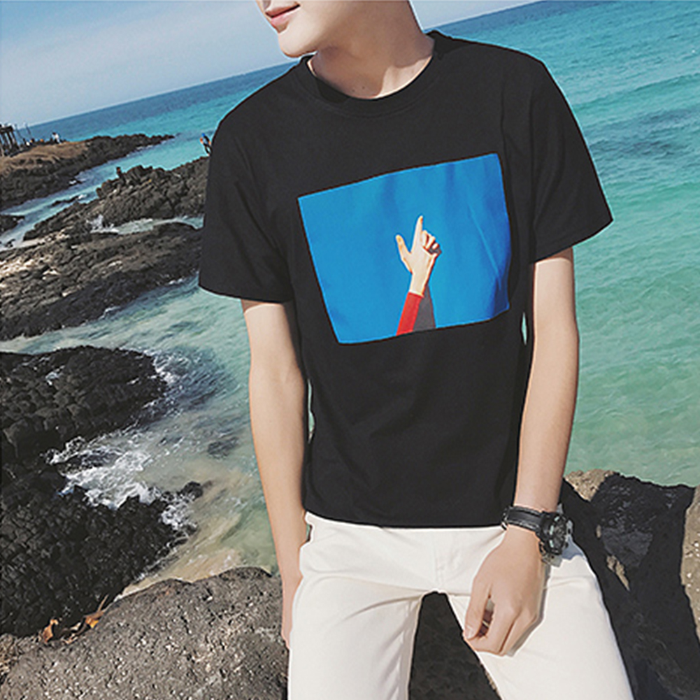Men T-shirt Handsome Summer Fashion Gesture Printing Pattern Short-sleeved Top Couple Shirt Loose T-shirt Blue sky black_M