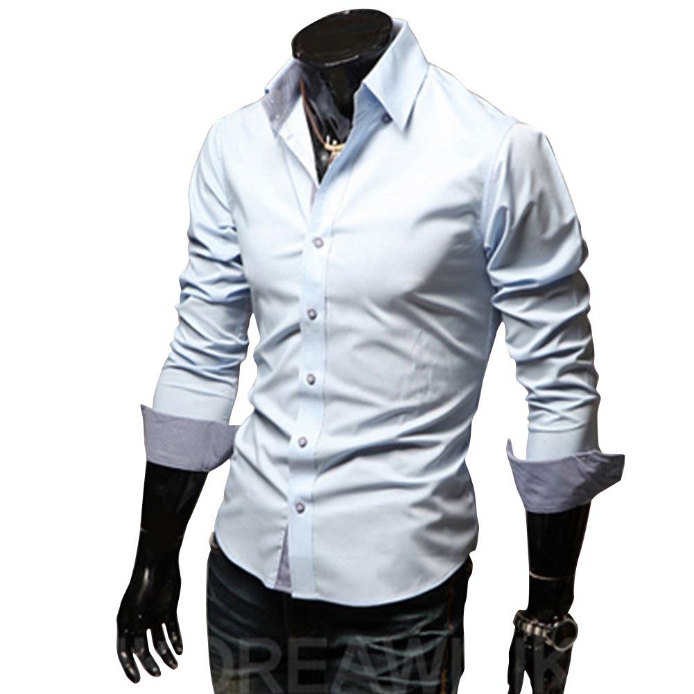 Men Fashion Casual Solid Color Long Sleeve Slim Shirts  Light blue_XXL