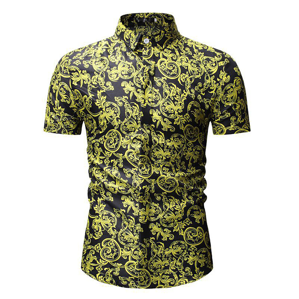 Men Summer Hawaii Digital Printing Short Sleeve T-shirt black_3XL