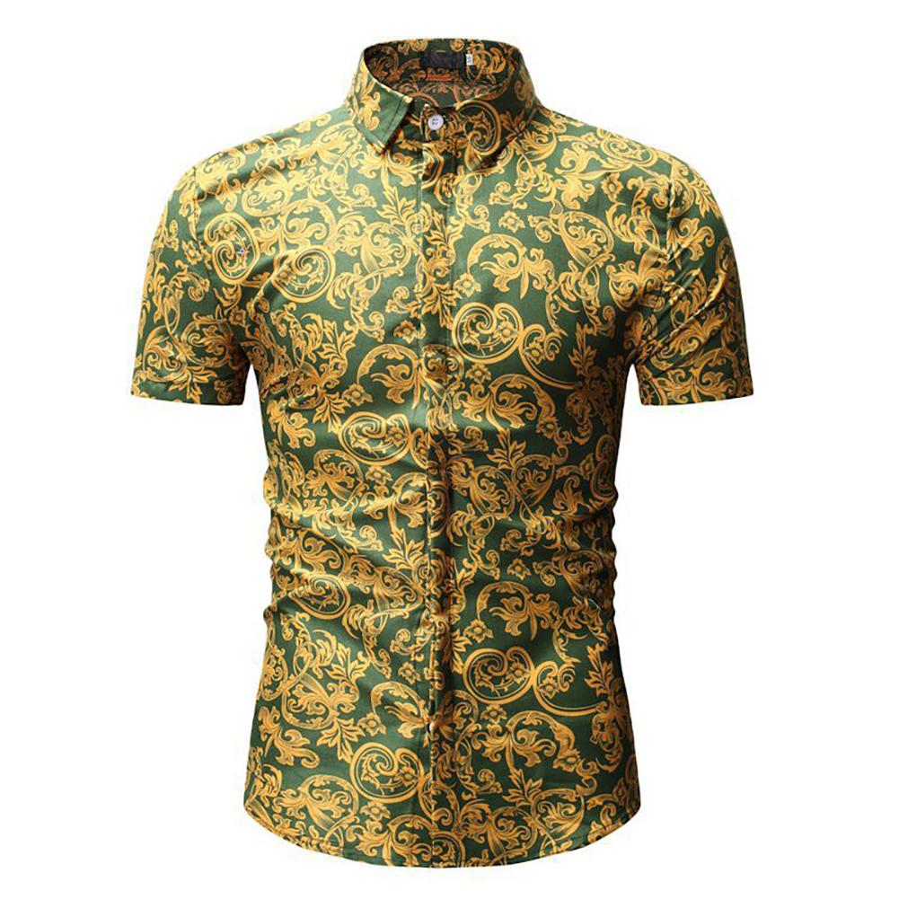 Men Summer Hawaii Digital Printing Short Sleeve T-shirt green_M