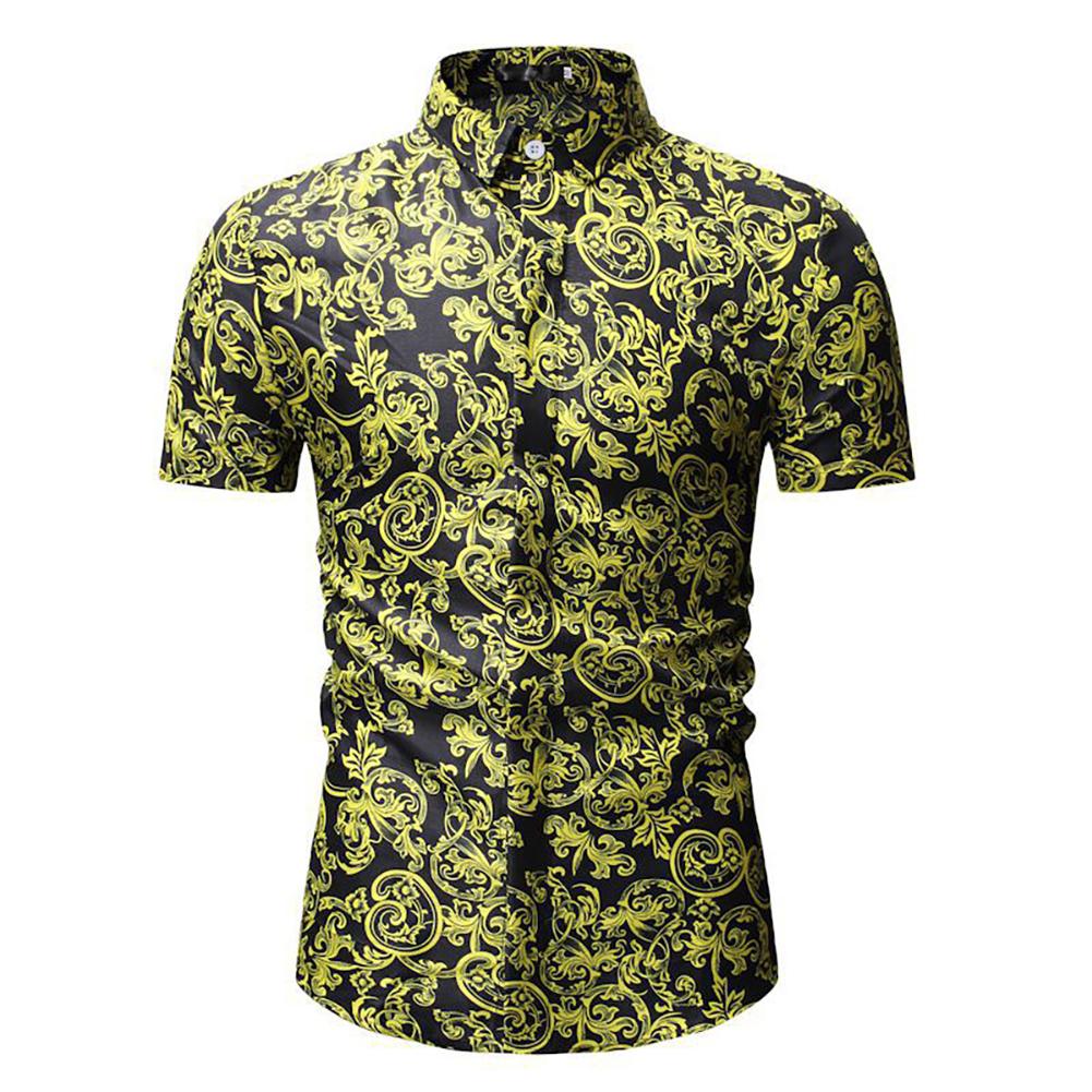 Men Summer Hawaii Digital Printing Short Sleeve T-shirt black_XL