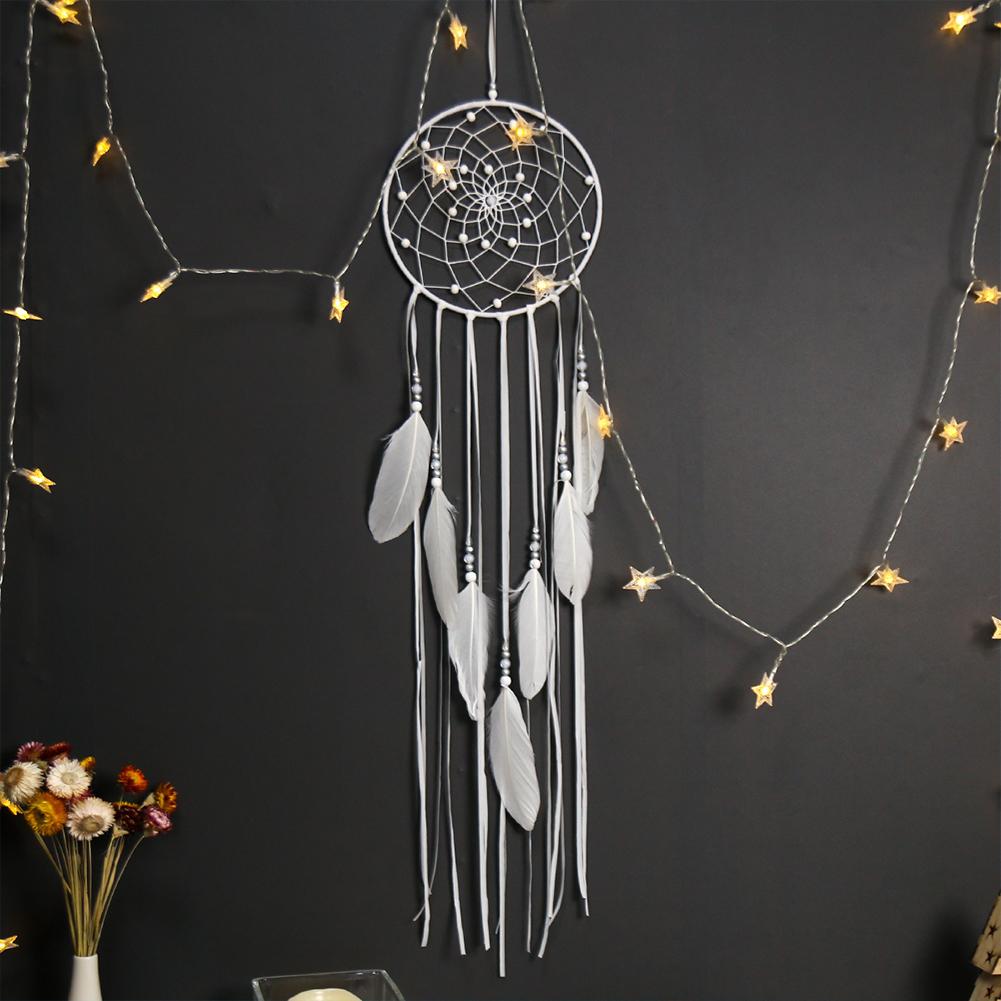 Dreamcatcher Moon/Round/Star Handmade Wall Ornament Girls Room Decoration Feather Dream Catcher round