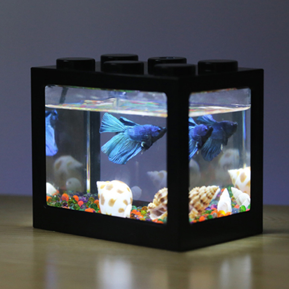 Mini Aquarium with Light Fishbowl for Home Office Tea Table