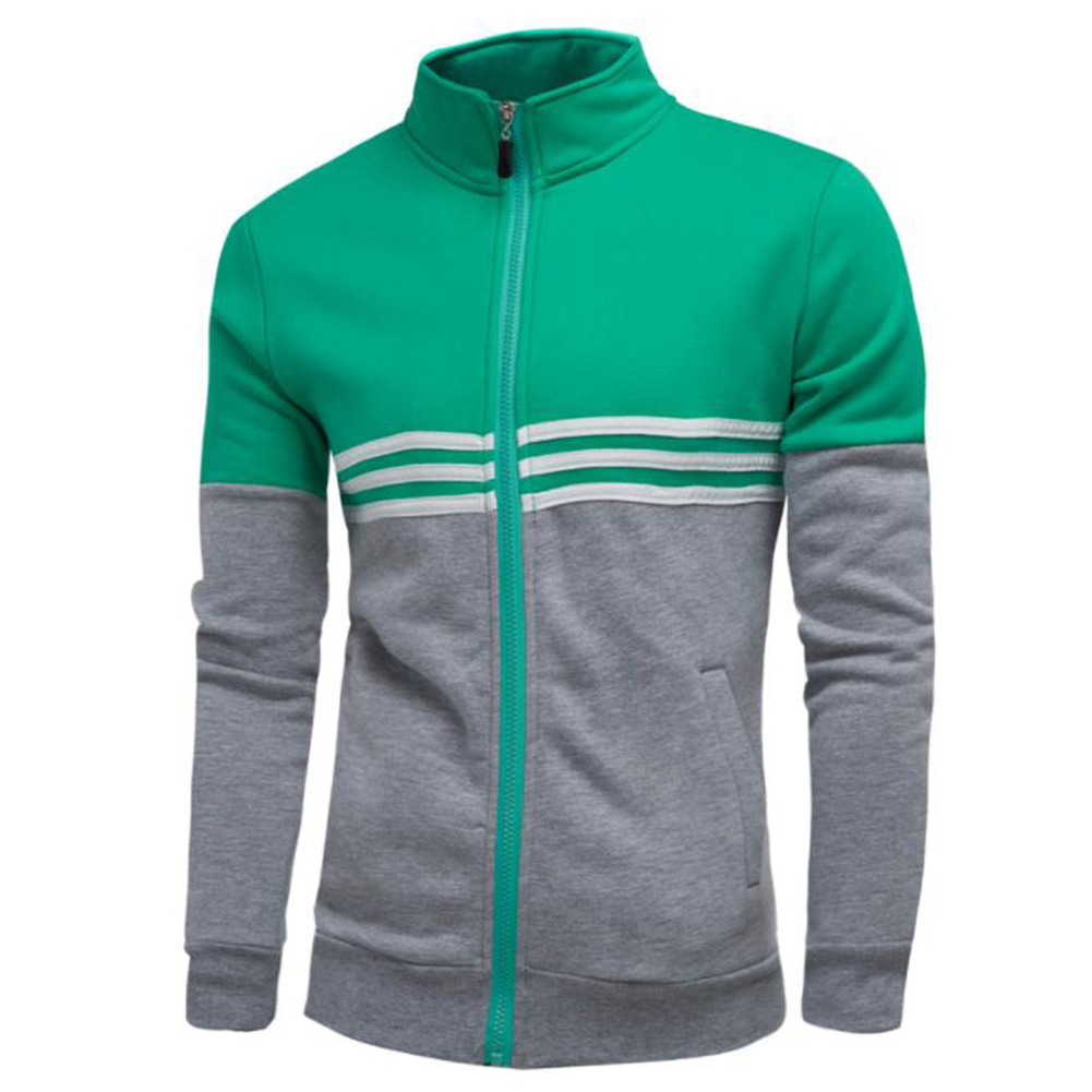 Men Fashion Coat Colour Matching Stand Collar Long SLeeve Jacket  green_L