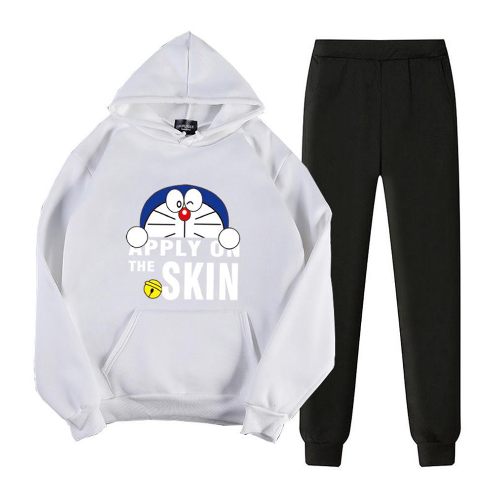 2Pcs/set Men Women Casual Suit Hoodie Sweatshirt + Pants Doraemon Cartoon Thicken Tracksuit White_S