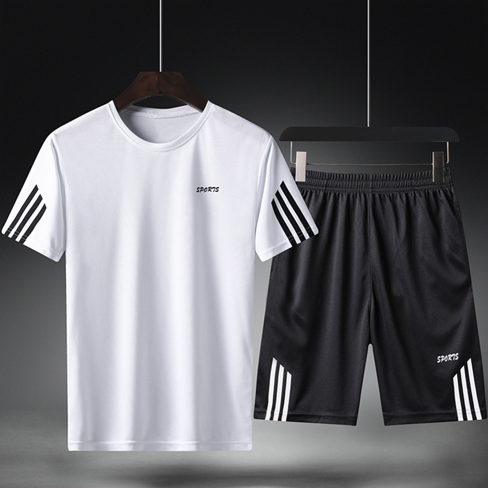 Male Sports Wear Quick Dry Casual Training Suits for Man Basketball Football Jogging white_L