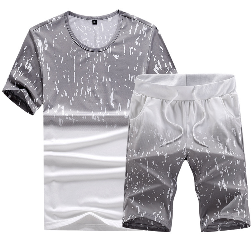 Men Summer Loose Round Neck Casual Short-sleeved T-shirt Sports Suit Outfit light grey_L