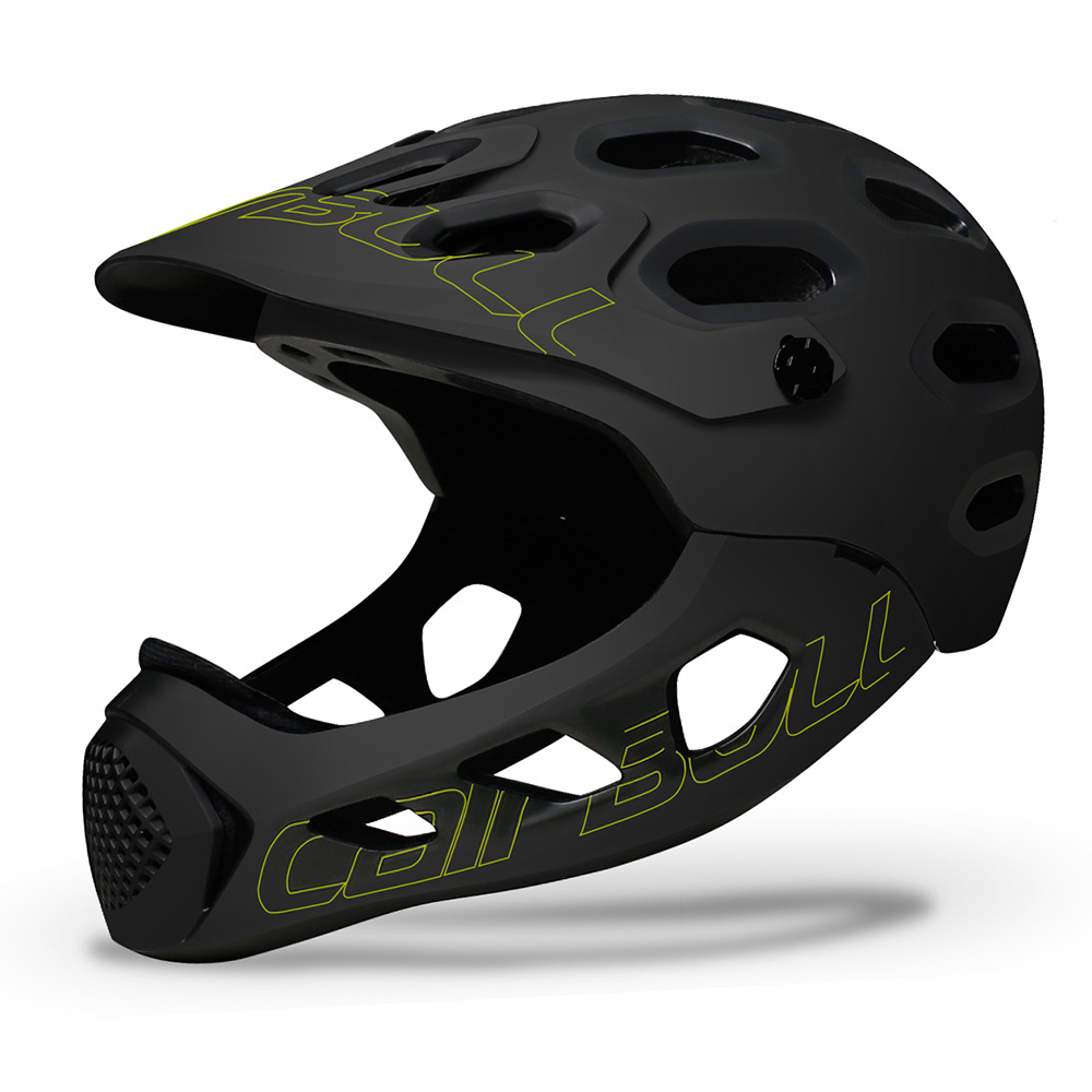 Cairbull ALLCROSS Mountain Cross-country Bicycle Full Face Helmet Extreme Sports Safety Helmet Black fluorescent yellow_M/L (56-62CM)