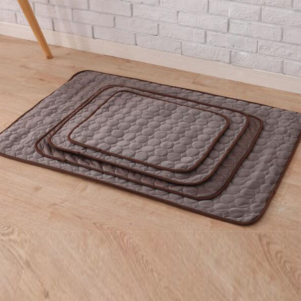 Summer Solid Color Cooling Sleeping Mat for Pet Cats Dogs Nest Brown_50*40cm