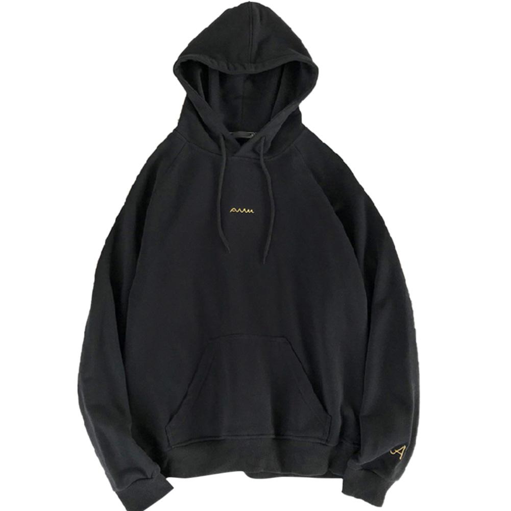 Men Women Hoodie Sweatshirt Printing Letter Spring Autumn Loose Pullover Tops Black_M
