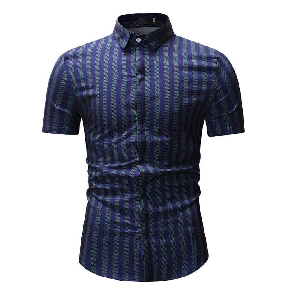 Men New Striped Casual Cotton Blend Short Sleeve Shirt Tops Green stripes_XL