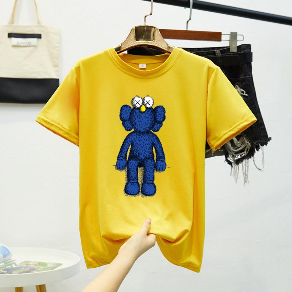 Boy Girl KAWS T-shirt Cartoon Sitting Doll Crew Neck Loose Couple Student Pullover Tops Yellow_XL