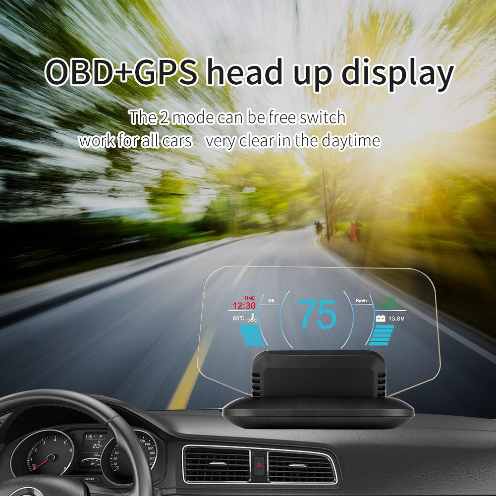 C1 HD Color LCD Display Car HUD Head Up Display OBD2 + GPS Head Display black