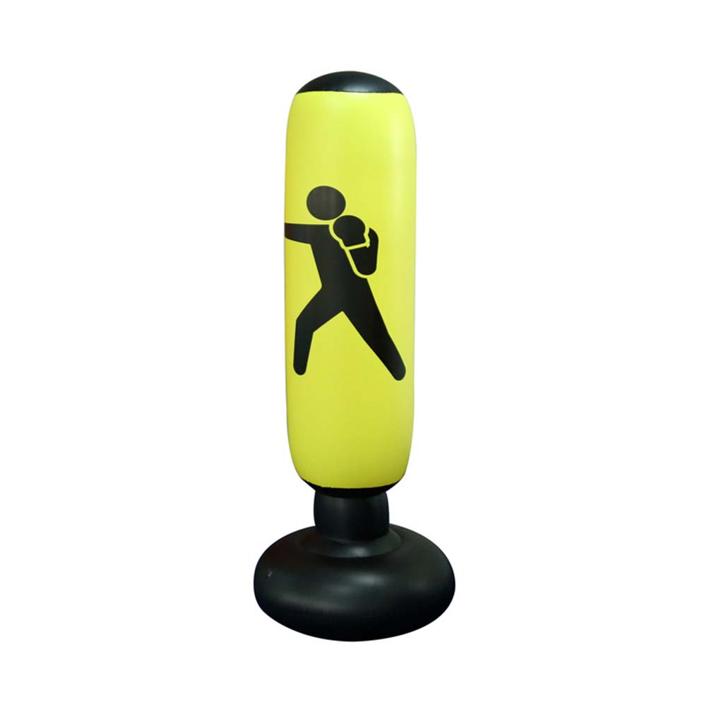 Inflatable Vertical Boxing Column Tumbler Inflatable Sandbag Decompression Fitness Toy yellow