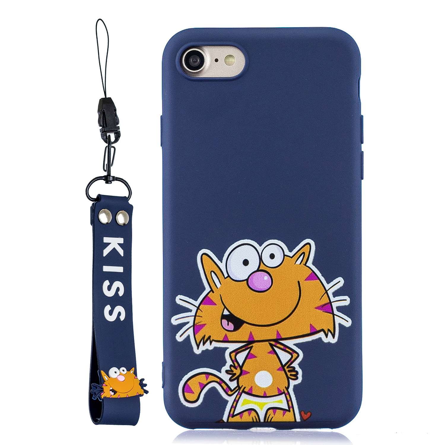 For iPhone 7/8 Cute Coloured Painted TPU Anti-scratch Non-slip Protective Cover Back Case with Lanyard