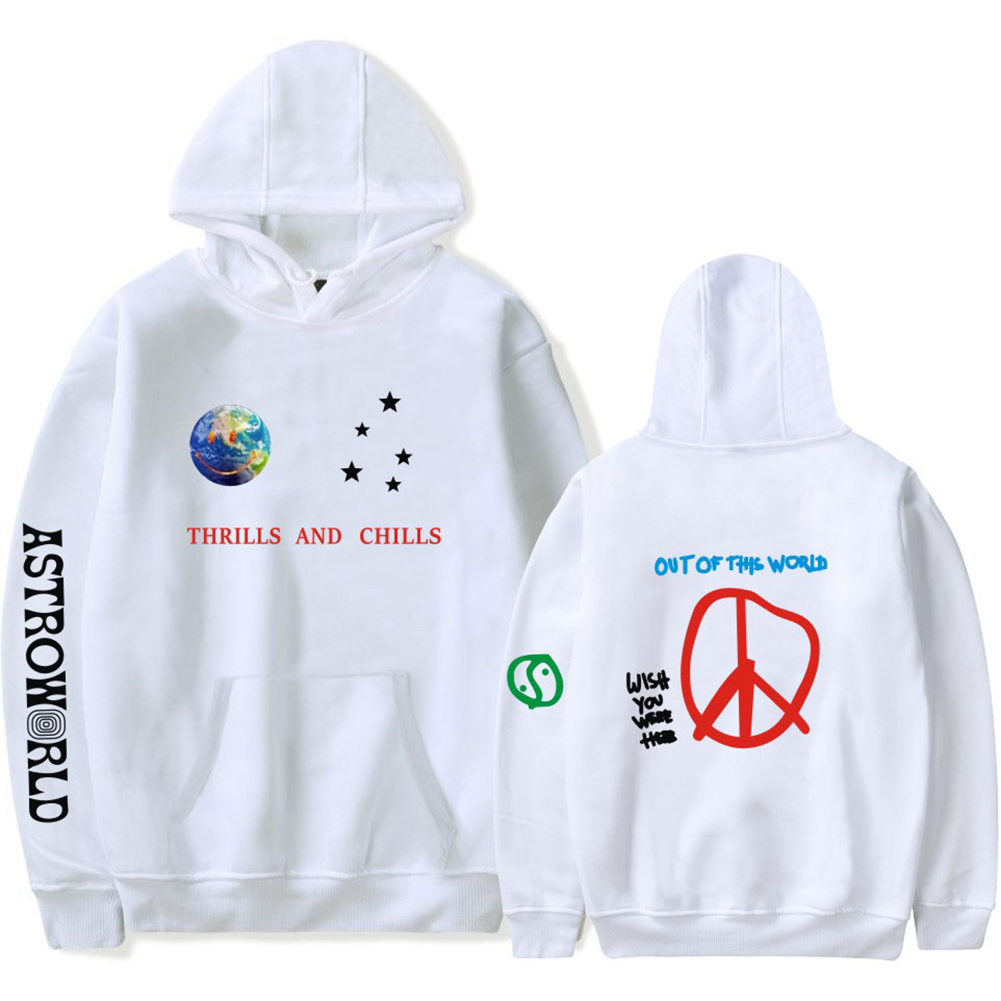 Travis Scotts ASTROWORLD Long Sleeve Printing Hoodie Casual Loose Tops Hooded Sweater E white_2XL