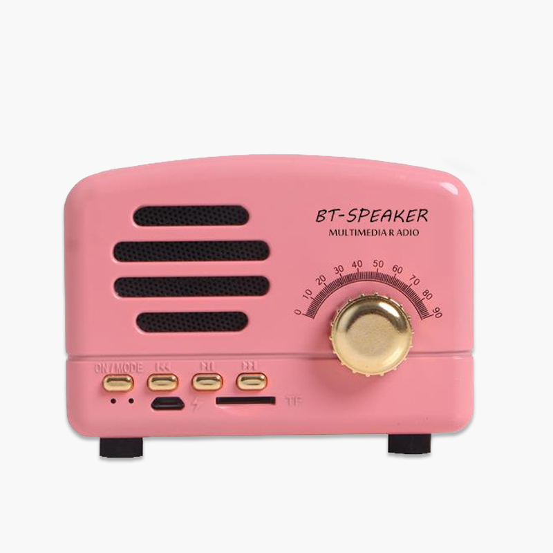 Retro Portable Mini Bluetooth Speaker Wireless Speakers Super Bass Music Loudspeakers Support TF Card FM Radio Pink
