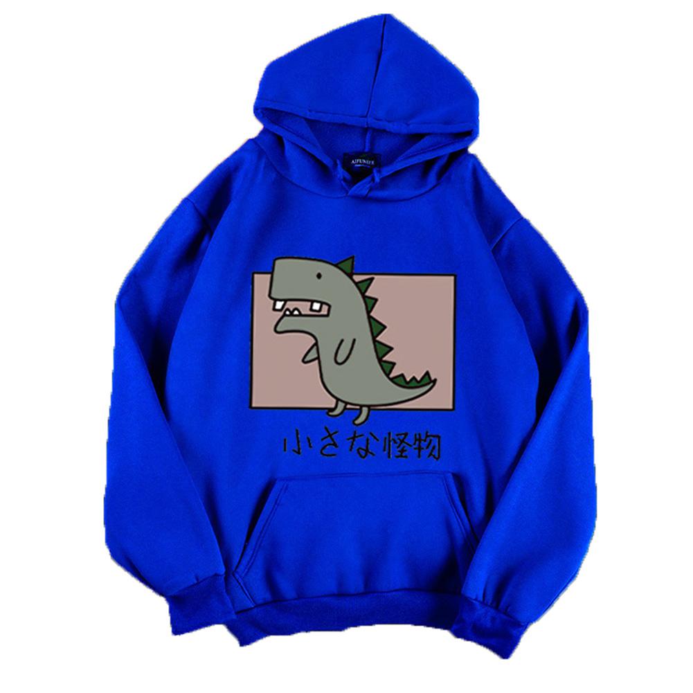 Boy Girl Hoodie Sweatshirt Cartoon Dinosaur Printing Loose Spring Autumn Student Pullover Tops Blue_M