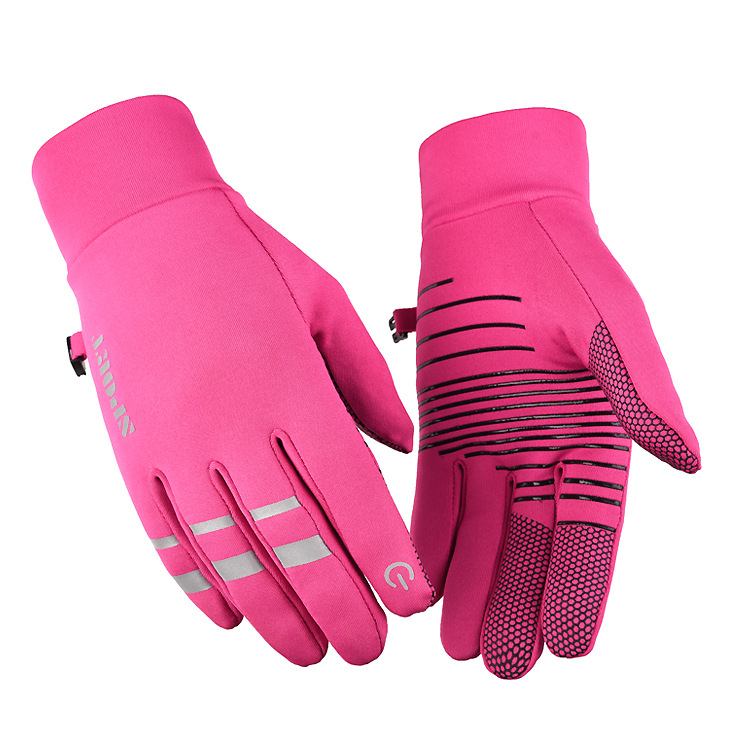 Cold-proof Ski Gloves Anti Slip Winter Reflective Windproof Gloves Cycling Fluff Warm Gloves For Touchscreen Pink_L