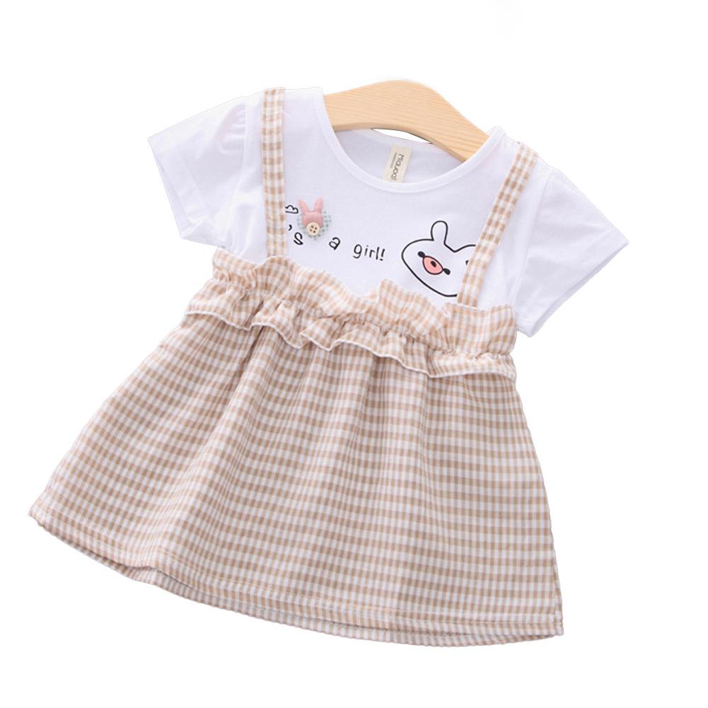 Girls Dress Plaid Pattern Princess Dress for 0-3 Years Old Kids Beige_M