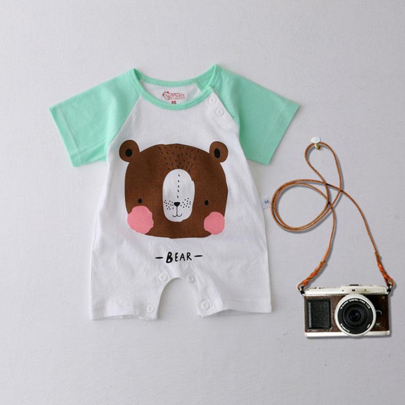 Infant Baby Girls Boys Cartoon Bear Pattern Crotchless Short Sleeve Romper Jumpsuit