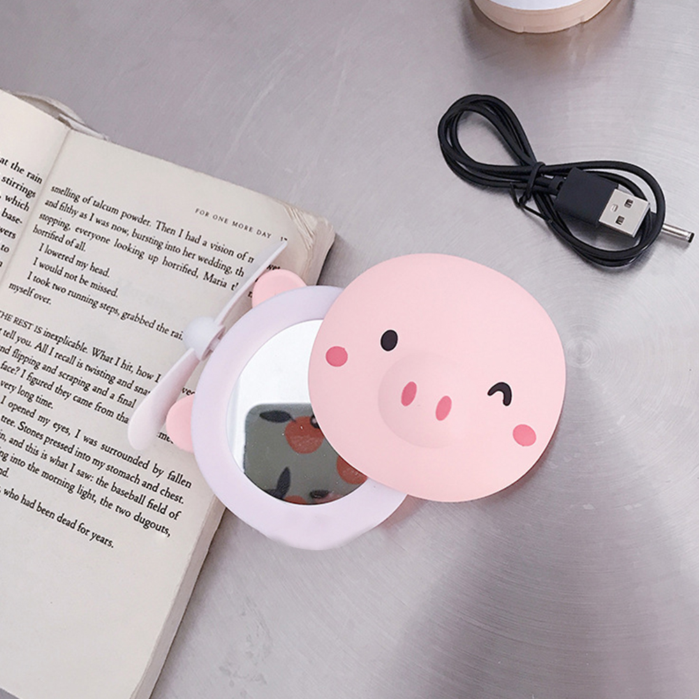 Cartoon Pig Portable LED Fill Light Makeup Mirror Fan USB Charging Portable Handheld Mini Fan  Blinking eyes_General purpose