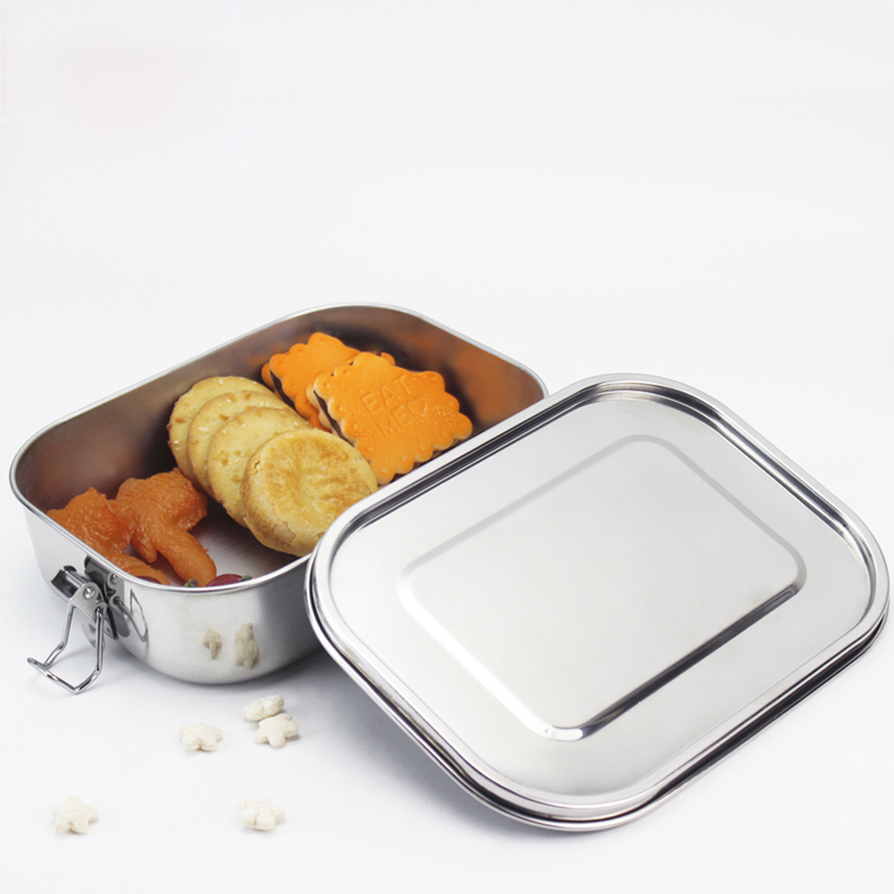Square 304 Stainless Steel Preservation Lunch Box with Silicone Sealing Ring Leak-Proof Food Container Bento Box  Single layer