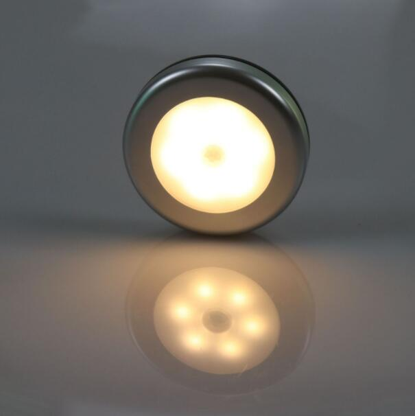 1PC 6LEDs Silver Color Round Shape Human Body Induction Closet Light Warm White_6LED