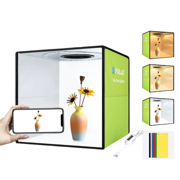 PULUZ 30CM Folding Portable Main Studio Box Ring LED Panel Soft Bag with 6Colors Backdrops green