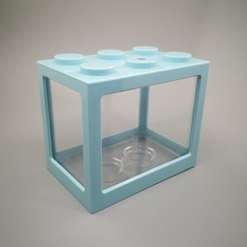 Superposed Mini Aquarium Fishbowl for Rumble Fish Marimo Spider Marimo(No USB No Light) Light blue