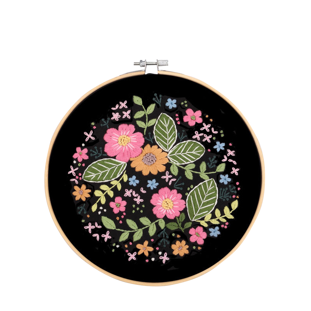 Diy Floral Hand-embroidered Material  Kit Needle Thread Set With Embroidered Hoop Starry 1