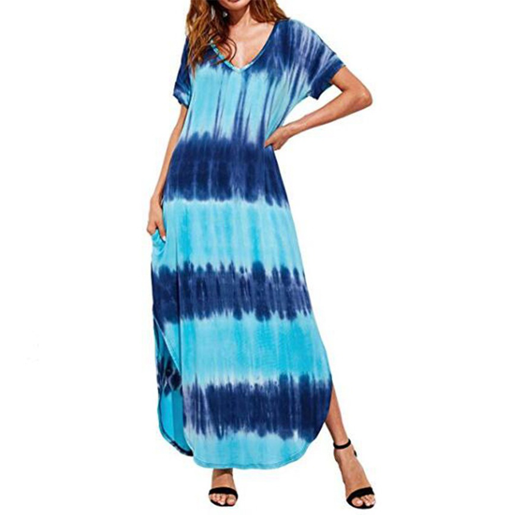 Woman Large Size Printing Tie-Dye Casual Short Sleeve Dress blue_XL