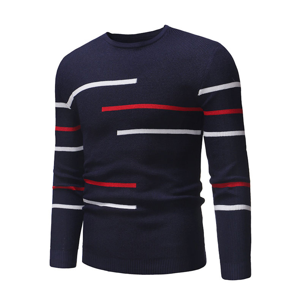 Casual Slim Base Shirt Strips Decorated Top Pullover of Long Sleeves and Round Neck for Man Navy_L
