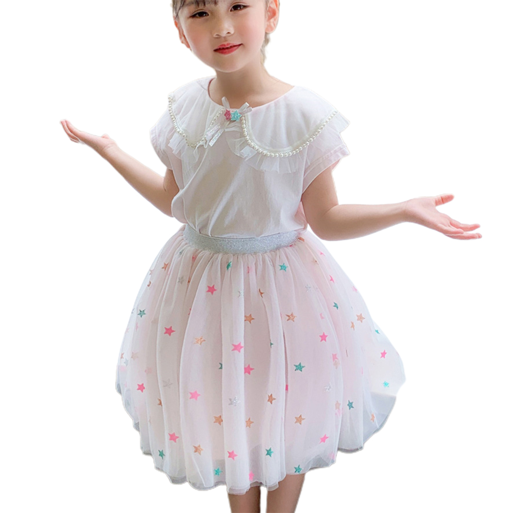 2 Pcs/set Girls Suit Lapel Short-sleeve Top + Star Mesh Skirt for 3-8 Years Old Girls Pink_130cm