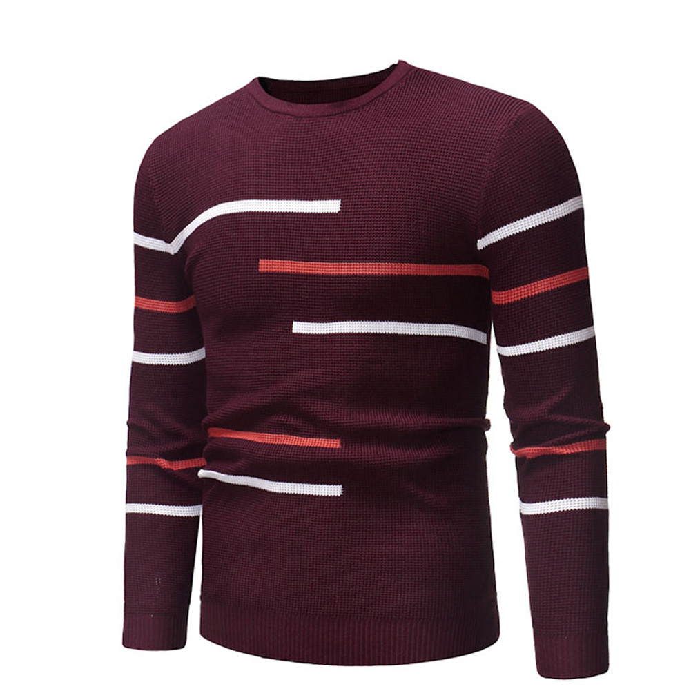 Casual Slim Base Shirt Strips Decorated Top Pullover of Long Sleeves and Round Neck for Man Red wine_L