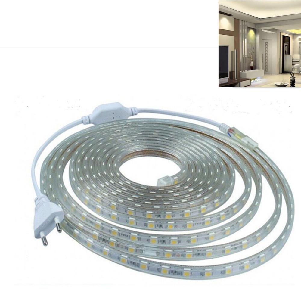 220V 5050 SMD High-voltage LED String Lights IP67 Waterproof Lamp Wedding Party Festivals Decoration White light_220V Euro plug