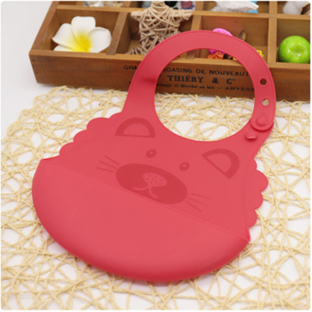 Baby Cute Cartoon Printing Waterproof Silicone Bib Rice Pocket  red