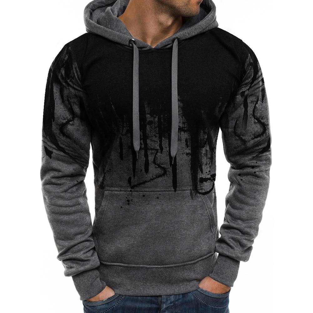 Men Casual Loose Long Sleeve Hoodie Chic Printed Sports Hooded Sweatshirt Pullover gray_M