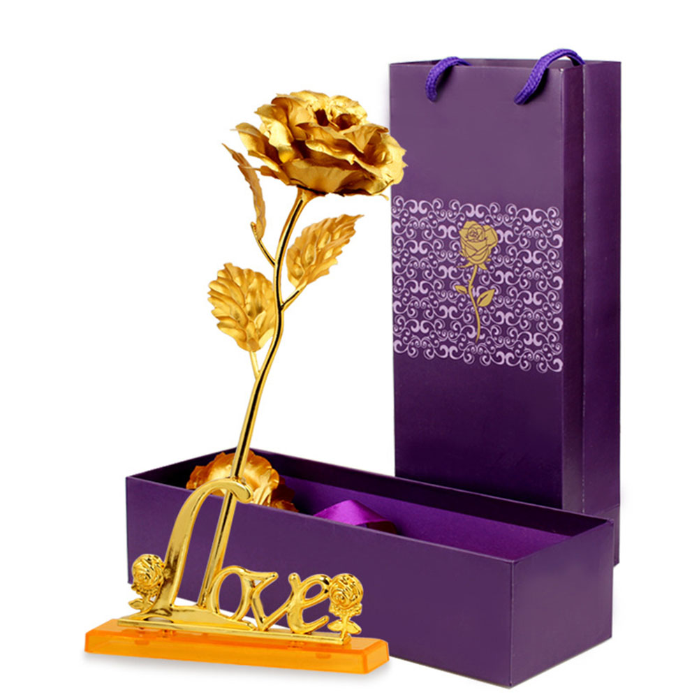 24k Foil Plated Rose with Leaf for Wedding Valentine Day Birthday New Year Decoration Gifts  Gold